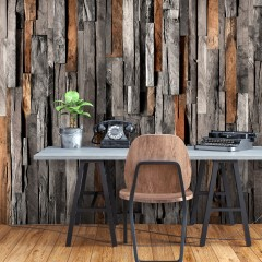 Selbstklebende Fototapete - Wooden Curtain (Grey and Brown)