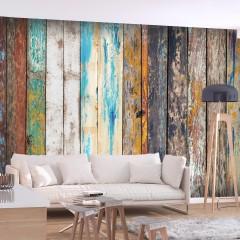 Selbstklebende Fototapete - Wooden Rainbow
