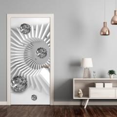Artgeist Türtapete - Photo wallpaper - Black and white abstraction I