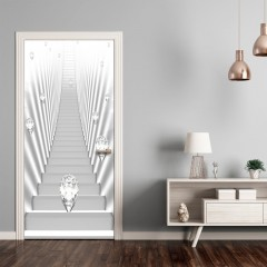 Artgeist Türtapete - Photo wallpaper - White stairs and jewels I