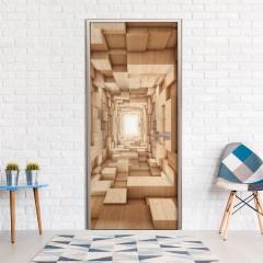 Artgeist Türtapete - Wooden Tunnel
