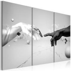 Artgeist Wandbild - Berührung in schwarz-weiß