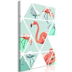 Artgeist Wandbild - Geometric Flamingos (1 Part) Vertical