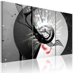 Artgeist Wandbild - Metallischer Kreis und rote Feder