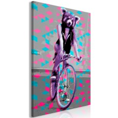 Artgeist Wandbild - Raccoon On The Bike (1 Part) Vertical