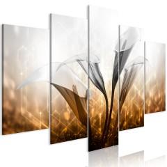Artgeist Wandbild - Floral Quartet (5 Parts) Wide Golden