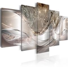 Artgeist Wandbild - Sparkling Dandelions (5 Parts) Beige Wide