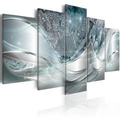 Artgeist Wandbild - Sparkling Dandelions (5 Parts) Blue Wide