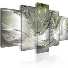 Artgeist Wandbild - Sparkling Dandelions (5 Parts) Green Wide