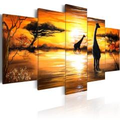 Artgeist Wandbild - Giraffen an der Tränke