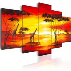 Artgeist Wandbild - Giraffen beim Sonnenuntergang