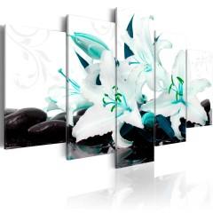Artgeist Wandbild - Turquoise lilies and stones