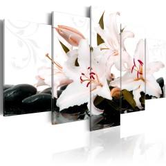 Artgeist Wandbild - Zen stones and lilies