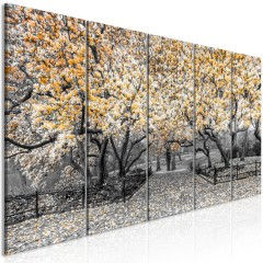 Artgeist Wandbild - Magnolia Park (5 Parts) Narrow Orange