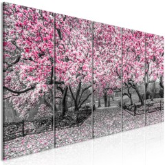 Artgeist Wandbild - Magnolia Park (5 Parts) Narrow Pink