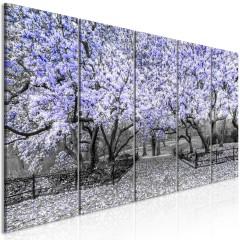 Artgeist Wandbild - Magnolia Park (5 Parts) Narrow Violet