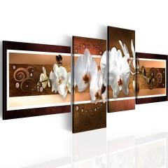 Artgeist Wandbild - Elegante Orchideen in abstrakter Komposition
