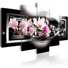 Artgeist Wandbild - Magnolias on a black background
