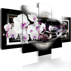 Artgeist Wandbild - Orchids on a black background