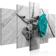 Artgeist Wandbild - Rose on Wood (5 Parts) Wide Turquoise