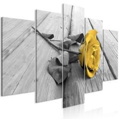 Artgeist Wandbild - Rose on Wood (5 Parts) Wide Yellow