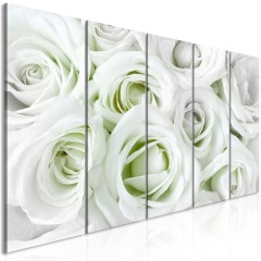 Artgeist Wandbild - Satin Rose (5 Parts) Narrow Green