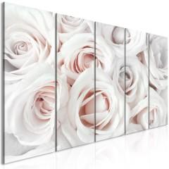 Artgeist Wandbild - Satin Rose (5 Parts) Narrow Pink