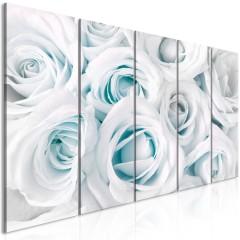 Artgeist Wandbild - Satin Rose (5 Parts) Narrow Turquoise