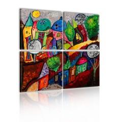 Artgeist Wandbild - Farbenfrohes Städchen