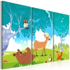 Artgeist Wandbild - Friendly Animals (3 Parts)