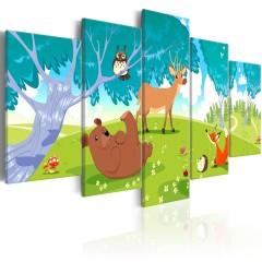 Artgeist Wandbild - Friendly Animals (5 Parts)