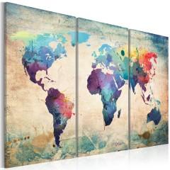 Artgeist Wandbild - Bunte Weltkarte - Triptychon