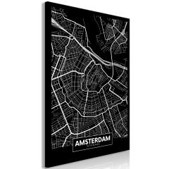 Artgeist Wandbild - Dark Map of Amsterdam (1 Part) Vertical