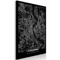 Artgeist Wandbild - Dark Map of Cologne (1 Part) Vertical