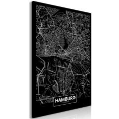 Artgeist Wandbild - Dark Map of Hamburg (1 Part) Vertical