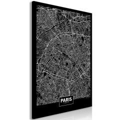 Artgeist Wandbild - Dark Map of Paris (1 Part) Vertical