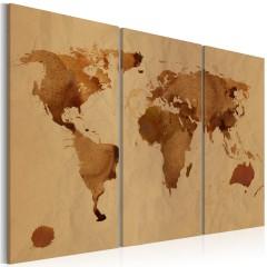 Artgeist Wandbild - Die Welt gemalt mit Kaffee - Triptychon