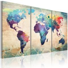 Artgeist Wandbild - Die Welt gemalt mit Wasserfarben