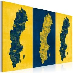 Artgeist Wandbild - Gemalte Landkarte von Schweden - Triptychon