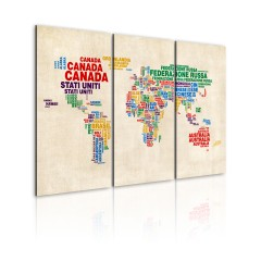Artgeist Wandbild - Italienische Ländernamen in lebendigen Farben - Triptychon