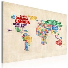 Artgeist Wandbild - Italienischen Ländernamen in lebendigen Farben