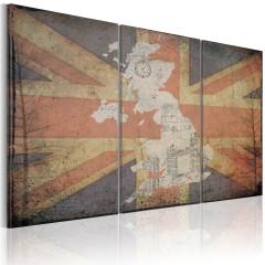 Artgeist Wandbild - Landkarte von Großbritannien - Triptychon