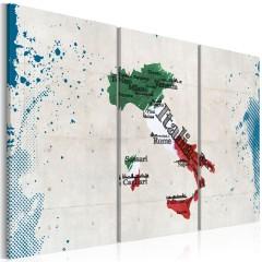 Artgeist Wandbild - Landkarte von Italien - Triptychon