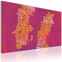 Artgeist Wandbild - Landkarte von Schweden (rosa Hintergrund)