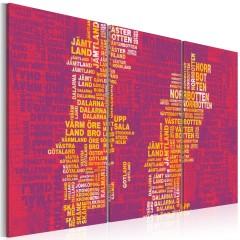 Artgeist Wandbild - Landkarte von Schweden (rosa Hintergrund) - Triptychon