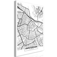 Artgeist Wandbild - Map of Amsterdam (1 Part) Vertical