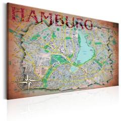 Artgeist Wandbild - Map of Hamburg