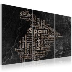 Artgeist Wandbild - Map of Spain on the blackboard - triptich
