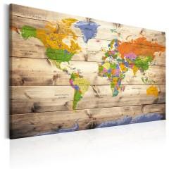 Artgeist Wandbild - Map on wood: Colourful Travels