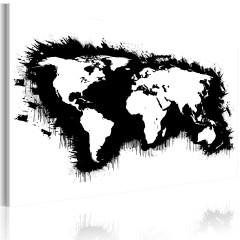 Artgeist Wandbild - Monochrome Weltkarte